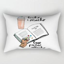 Books & snacks cure panic attacks Rectangular Pillow