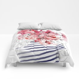 Back from the flower market - Peonies bouquet illustration Comforters