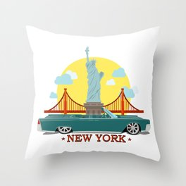 Cabriolet car on the background of the Statue of Liberty and Golden Gate Bridge Throw Pillow