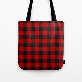 Red and black squares plaid print Tote Bag