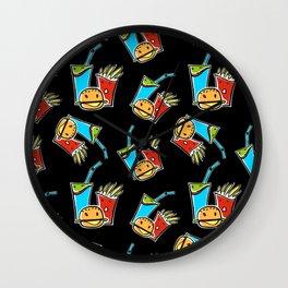 Fun Fast Food (seamless pattern in black) Wall Clock