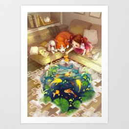 Puzzles of Imagination: Koi Pond Art Print
