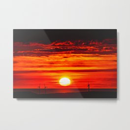 Isle of Anglesey Windmill Sunset over Irish Sea Metal Print