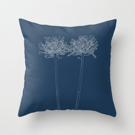 Agapanthus Blueprint Throw Pillow