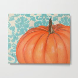 Pumpkin with Damask Metal Print