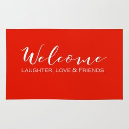 Welcome - Laughter, Love & Friends (Red) Rug