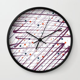 Maroon Splatter Pattern Wall Clock
