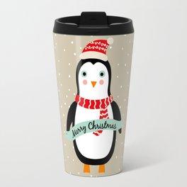"Cute Penguin wishes ""Merry Christmas"" - X-mas Christmas Winter Design Travel Mug"