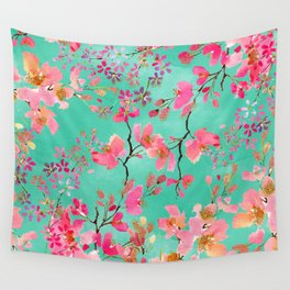 Elegant hand paint watercolor spring floral Wall Tapestry