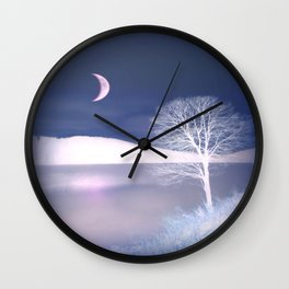 Moon night on the lake Wall Clock
