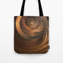 Earthen Brown Circular Fractal on a Woven Wicker Samurai Tote Bag