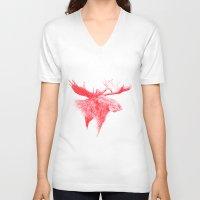moose V-neck T-shirts featuring Moose  by polona hocevar skofic