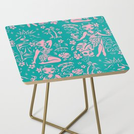 Tiki Temptress in Pink and Turquoise Side Table