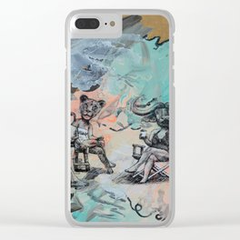 Only plateaus offer a place to rest. Clear iPhone Case