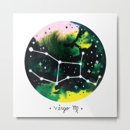 Virgo Constellation Watercolor Metal Print