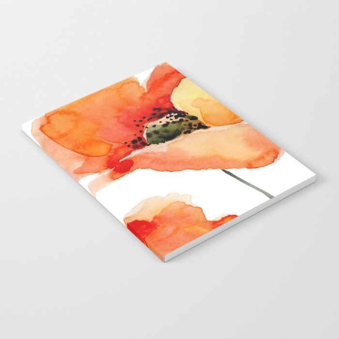 Modern hand painted orange watercolor poppies pattern Notebook