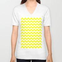 chevron V-neck T-shirts featuring Chevron (Yellow/White) by 10813 Apparel