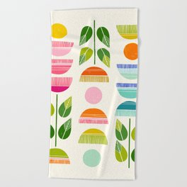 Sugar Blooms - Abstract Retro Inspired Design Beach Towel