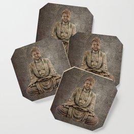 Sitting Buddha On Distressed Metal Background Coaster