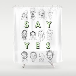 Ancient Aliens - Cast of Caricatures - Say Yes Shower Curtain