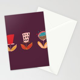 Mid- Century Modern Purple Flowers Pattern Stationery Cards