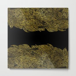 Luxury Gold Leaf Tribal Pattern Metal Print
