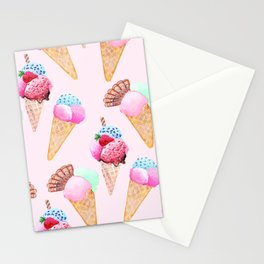 Ice cream Pattern summer cool watercolor Stationery Cards