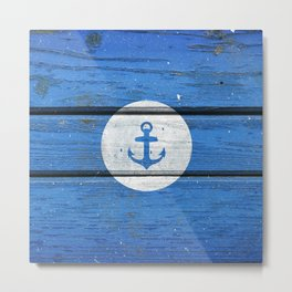 Nautical White Anchor on Vintage Blue Wood Panels Metal Print