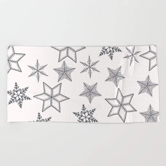 Grey Snowflakes On White Background Beach Towel