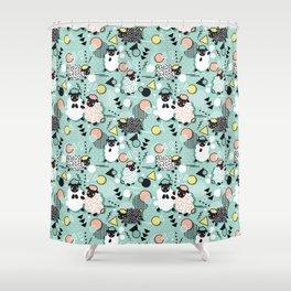 Mééé Memphis sheep // mint background Shower Curtain