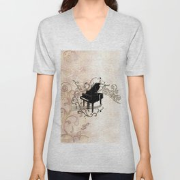 Music, piano with key notes and clef Unisex V-Neck