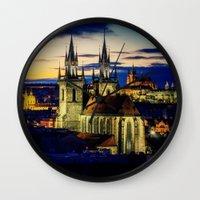 prague Wall Clocks featuring Prague by EclipseLio