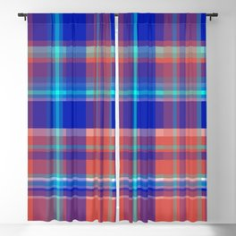 Striped 2X Blue and Red Blackout Curtain