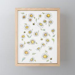 Bees and Daisies Framed Mini Art Print