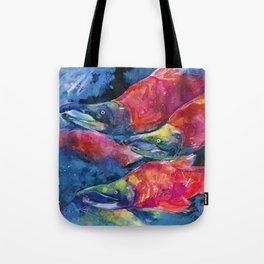Sockeye Salmon Watercolor Painting Tote Bag