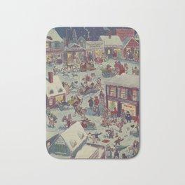 Vintage Christmas Town Folk Illustration (1918) Bath Mat