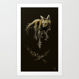 Amber Maned Wolf Art Print
