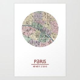 PARIS FRANCE - city poster - city map poster print Art Print