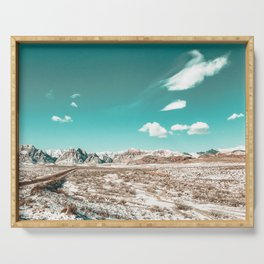 Vintage Desert Clouds // Teal Blue Skyline Mountain Range in the Mojave after a Snow Storm Serving Tray