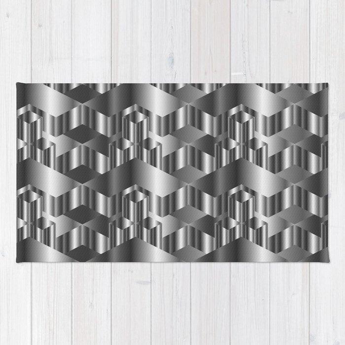 High grade metal texture- reflective mirrored surface Rug