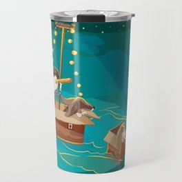 A boy, a box and two bassets hounds_Water Travel Mug
