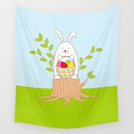funny rabbit on the stump Wall Tapestry