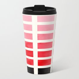 Colorful Red Geometric Square Pattern With Black Accent Mid Century Art Travel Mug