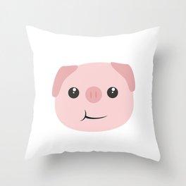 Cute chewing kawaii piggy Throw Pillow