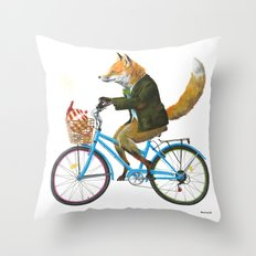 Fox goes to Tea (white) Throw Pillow