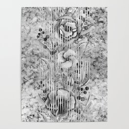 Shades of grey Floral Abstract Poster