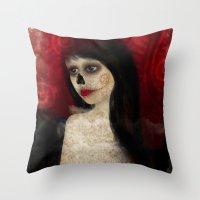 dia de los muertos Throw Pillows featuring Dia de los muertos by solocosmo