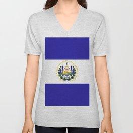 El Salvador flag emblem Unisex V-Neck