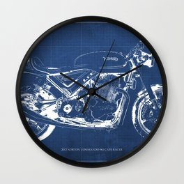 Blueprint, Norton Commando Cafe Racer, original art,bike poster Wall Clock
