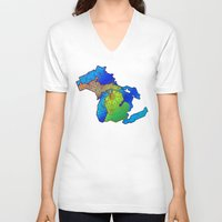 michigan V-neck T-shirts featuring Michigan by Dusty Goods